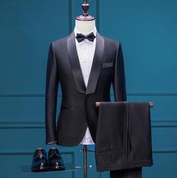 Wholesale Sale Shawl Collared Tuxedo - Wholesale- Wholesale - Hot Sale Men Tuxedos Suits Black Satin Lapel (Jacket+Pants) Men Wedding Business Slim Fit Party Suits Shawl Collar