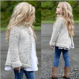Wholesale Toddler Girls Cardigans - 2017 Knitted Sweater Cardigan Coat Tops Toddler Kids Baby Girls Outfit Clothes Button Drop Shipping