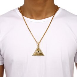 Wholesale Egyptian Pendant Eye Horus - New Arrival Gold Illuminati Eye Of Horus Egyptian Pyramid With 23.6 Inch Chain For Men Women Pendant Necklace Hip Hop Jewelry