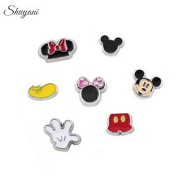 Wholesale Christmas Diy Fashion - Fashion DIY Enamel Lovely Mickey Series Floating Locket Charms fit Living Memory Locket Necklace as Christmas Gift