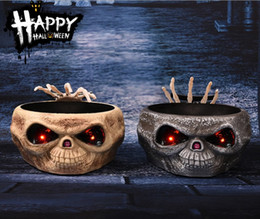 Wholesale Wholesale Cookie Jars - Halloween cookie jars Candy Box with Skull Shape LED Light when touch Ghost speak and hands out from the skull one key switch on the nose