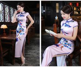 Wholesale Oriental Print Dress - Women's High-Grade Carp Floral Printed Chirpaur Chinese Traditional Cheongsam Oriental Sexy Split Silk Qipao Long Skirt Vintage Slim dresses