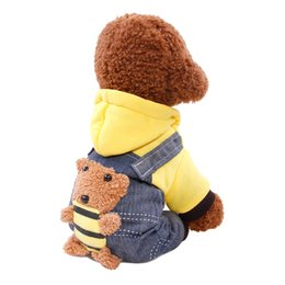 Wholesale Dog Jeans Clothing - Autumn Winter Pet Dog Clothes Warm Cotton Jeans Dog Coat Jackets overalls Bear Cartoon Style Puppy Hooded Clothing For Small Medium Dogs