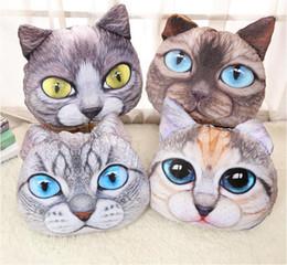Caja con forma de coche online-2016 creativo 3D en forma Grumpy cara del gato diseño tirar de algodón de felpa coche cojín funda de almohada cabeza animal en forma de almohada