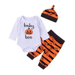 Wholesale First Birthday Outfits - Hot Halloween Pumpkin Baby Clothes Suits Kids Boys Girls Long Sleeve Romper Striped Pants Hat 3Pcs Bodysuit First Birthday Outfits Set 0-24M