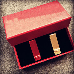 Wholesale Gift Card Holder Metal - 2-piece 2018 brand new slim red money clips vintage brass Credit Card Money Holder with gift box Christmas gifts