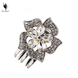Wholesale Small Rhinestone Hair Clips - Wholesale Small Mini Size Silver Metal Hair Claw Clips with Crystal Rhinestones Girls Womens Cute Hair Jewelry Clamps Hair Pin Accessories