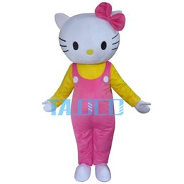 Wholesale Cartoon Party Costumes - Hot Pink Hello Cat Mascot Costume Cartoon Party Dress Free Shipping
