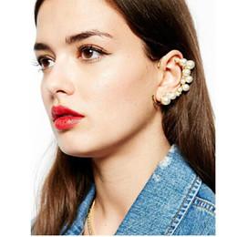 Wholesale Long Silver Ear Cuff - Newest Ear Cuff Fashion Cut Long Moon Shape Ear Cuff Imitation Pearl Earrings Clips No Pierced Earring anel Fashion Jewelry