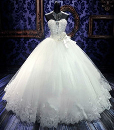 Wholesale Real Stone Flooring - Lace Ball Gowns Wedding Dresses for Girls Cheap Sexy Sweetheart Lace up Corset for Black Girls Stones Floor Princess Ivory Bridal Gowns