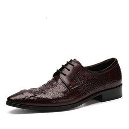 Wholesale Chunky Heel Party - Designer Crocodile Grain black oxfords shoes mens business shoes genuine leather dress shoes mens formal wedding shoes