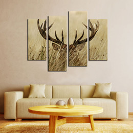 Wholesale Bush Fashion - 4 Panels Painting Deer Stag With Long Antler In The Bushes Picture Printed On Canvas with Wooden Framed For Home Wall Decor Ready to Hang