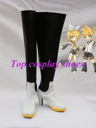 Wholesale Costume Cosplay Rin Len - Wholesale-Freeshipping Vocaloid Append Rin & Len Cosplay Boots shoes black & white & yellow custom-made for Halloween Christmas
