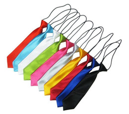 Wholesale Neckcloth Necktie - 2016 how Children's necktie solid 38 colors baby's ties 28*6cm neckwear rubber band neckcloth For kids Christmas gift Free Fedex U