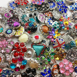 Wholesale Diy Leather For Bracelets - Wholesale 18MM Ginger Snap Button Rhinestone Mixed Style Fit For Noosa Leather Bracelets Necklace Jewelry DIY Accessories