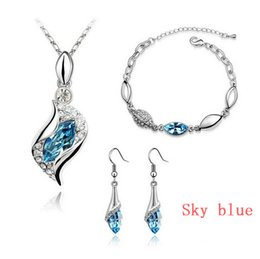 Wholesale Eastern Element - 100% Austria Crystal Jewelry Set Fashion Angels wizard Silver Plated Necklace Earrings and Bracelet Swarovski Crystal Elements Jewelry Set