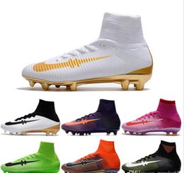 Wholesale Boys Rubber Boots Free Shipping - Boys Superflys IC Indoor Soccer Shoes TF Turf CrIStiAnO RoNaLdO Cr7 indoor Shoes High Ankle Football Boots Mens soccer cleats free shipping