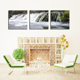 Wholesale Waterfall Art - Canvas Print for Living Room Decoration 3 Panels Red Dreamlike Waterfall Painting Wall Art on Canvas- High Definition Modern Home Decor