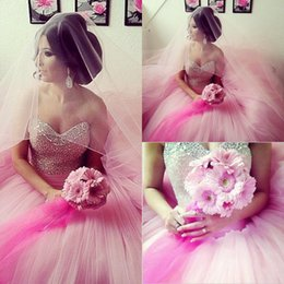 Wholesale Charming Quinceanera Dresses Ball Gown - 2018 Princess Ball Gowns Quinceanera Dresses Sparkly Sequins Beads Crystal Sweetheart Sweet 16 Prom Party Dress Tulle Charming Formal Dress
