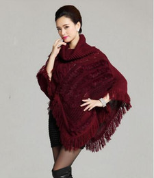 Wholesale Knitted Rabbit Fur Shawls - drop shipping Knitted women poncho with natural rabbit fur high collar Long Batwing shawl Sweater Fashion Girl's white capes Autumn
