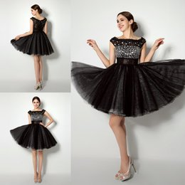 Wholesale Short Gold Prom Dresse - Customize Made 2016 Hot Selling Portrait Short Prom Dresses Mini Black Tulle Crystal Beaded Homecoming Dresses Cheaper Cocktail Party Dresse