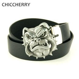 Wholesale Dog Leather Belts - Wholesale-New Fashion Silver Dog Head Novelty Unique Metal Belt Buckles with Black Brown Men's PU Leather Belts For Jeans Casual Dress