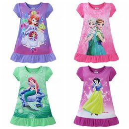 Wholesale Dress Ruffle Hem - The Mermaid Frozen baby girls pajamas nightgown Cotton Cartoon Ruffle hem extra comfy clothes children dresses Kids clothing