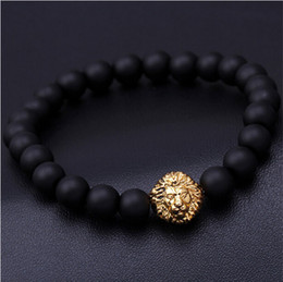 Wholesale Mens Lion Chains - 2016 Blue bead bracelet buddha bracelets paracord natural stone lion bracelet men pulseras hombre bracciali uomo mens bangles