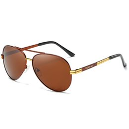 Wholesale Oval Shaped Silver Frame - Men's fashion polarized sunglasses pilots driving oval-shaped anti-UV high-definition gold frame polarized yurt