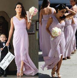 Wholesale cheap one shoulder wedding dresses - One Shoulder Bridesmaid Dresses Pleats Light Purple Bridesmaid Dresses Cheap Split Front Zipper Back Party Dresses For Wedding