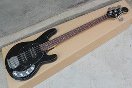 Wholesale Electric Guitar Black - Wholesale Standard 4 Strings StingRay 4 string black Electric Bass guitar with 9 V Battery active pickups