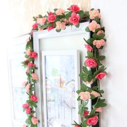 Wholesale Little Plastic Flower - Artificial Silk Rose Flower Ivy Vine 8ft Fake Garland Wedding Party Home DÉCor Little Rose Vines Fake Flower Vine Wedding Decorations