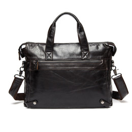 Wholesale Office Works Computers - Wholesale- Crazy Horse Genuine Leather Briefcase Men Leather Work Bag Laptop Bag Office Business Bag Male Attache Brief Case maletin hombre