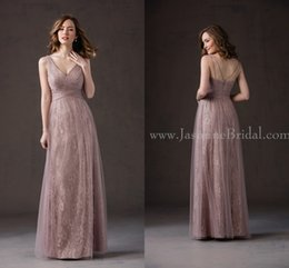 Wholesale New Fall Dresses - New Lavender 2016 Fall Jasmine Bridesmaid Dresses Cheap Sexy V Neck A Line Lace With Tulle Long Junior Bridesmaid Dresses L184066