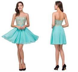 Wholesale Mint Chiffon Maternity Dress - 42.9$ Mint Green Sheer Neck Short Mini Homecoming Dresses Lace Appliqued Beaded Crystals Short Party Cocktail Graduation Prom Dresses CPS357