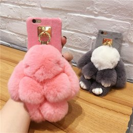 Wholesale Apple Rabbits - Luxury Cute Rabbit Plush Furry Case TPU Fur Ball Women Girl Lady Cover Case For iPhone X 8 7 6 6s Plus