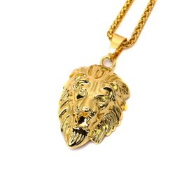 Wholesale Head Piece Chain Jewelry Gold - Hot Sale Fashion 18K Gold Plated Lion Head Pendant Necklace Hip Hop Jewelry Punk Rock Micro Filling Pieces Chains Jewelry Animal Necklace