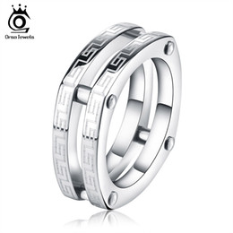 Wholesale Wholesale Two Finger Rings - Square Fashion 316L Stainless Steel Rings Two Circles Great Wall Pattern Titanium Steel Men Women Finger Ring GTR13