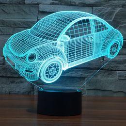 Wholesale volkswagen beetle vw - 2017 VW Beetle Volkswagen 3D Optical Night Light 9 LEDs Night Light DC 5V Factory Wholesale
