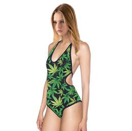 Wholesale One Piece Body Dress - 2016 European style Green Leaf plum blossom printing Bikini sexy backless Siamese Swimsuit Dress sling body Beach cloth