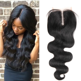 Wholesale Top Closure Clips - Brazilian Body Wave hair Closure 4X4 Free Middle Part Brazilian silky Body Wave top lace closure vrigin human hair closures Free Shipping