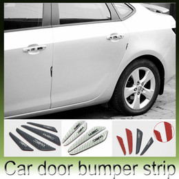 Wholesale Door Side Edge Protection - 4pcs lot carbon fiber Car Door Decoration Strip General universal Crash Bar Anti-Rub Bumper Door side Edge Protection stickers