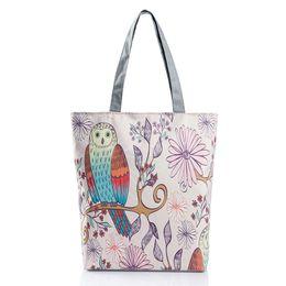 Wholesale Portable Flower Shop - 2016 hot sale explosion models owl butterfly flowers printed canvas tote bag shoulder portable shopping bag Dhgate Hot
