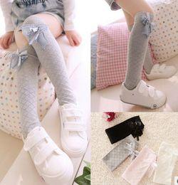 Wholesale Dress Socks Girls - New korean girls new fashion socks lace flower Bows socks knee high socks bowknot long Stockings girls princess dress best socks A8341