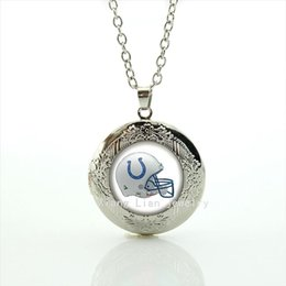 Wholesale Pictures For Lockets - New fashion American football picture locket necklace casual team Newest mix 32 sport gift for mother 's day NF122