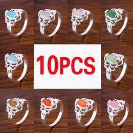 Wholesale Wholesale Jewelry 925 Usa - Mix Color 10pcs lot Wholesale Holiday Jewelry Gift Party Jewelry Oval Topaz Quartz Amethyst Gems 925 Sterling Silver Ring USA Size 3-7