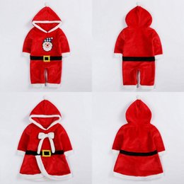 Wholesale Infant Fairy - Baby Boy Girls Christmas Performance Costumes Hooded Clothes Infant Kids Bow Santa Claus Xmas Cosplay Clothing