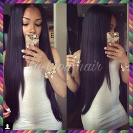 Wholesale Blonde Wig Curly Ponytail - Hot sale high ponytail full lace wigs with natural hairline Virgin Brazilian straight full lace human hair wigs for black women