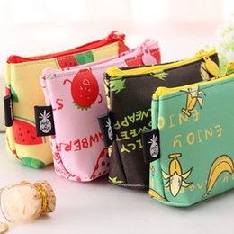 Wholesale Strawberry Coin - Wholesale- Korean Women Girls Coin Purse Small Mini Money Bag Keys Wallets Banana Watermelon Strawberry Shape Change Purses For Student