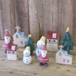 Wholesale Craft Figures - 5 pcs MOQ Church Christmas Tree  Snowman Santa Claus Decoration Fairy Garden Miniatures Plastic Crafts Resin Christmas Ornament Anime figure